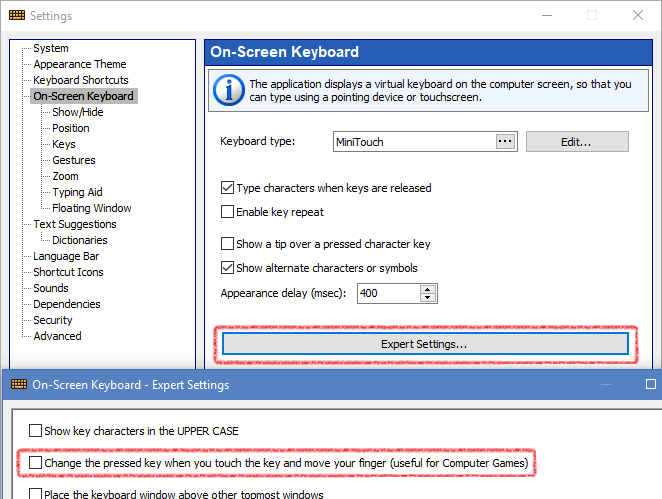 Settings for the keyboard as a gamepad